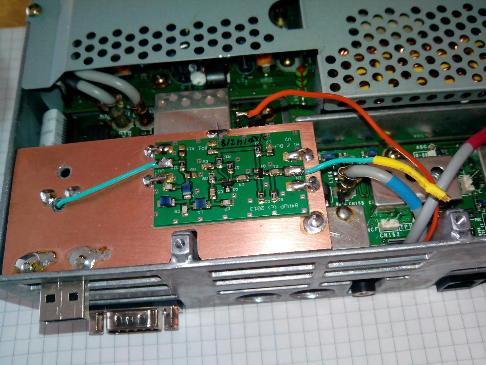 TS480 PAT installation with USB dongle integrated under the PCB - LB6YD